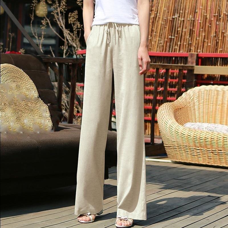 2019 New Spring Summer Women Korean   Wide     Leg     Pants   Sashes Casual Elastic High Waist Linen Loose Trousers