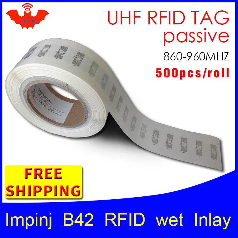 RFID tag UHF sticker Impinj B42 EPC 6C wet inlay 915mhz868mhz860 960MHZ Higgs3 500pcs free shipping adhesive passive RFID label