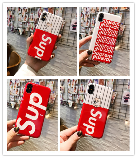 10pcs/lot Brand Sup Glossy Red Phone Case Soft TPU Back Cover For iPhoneX 8 6s 7plus Casing Skinny Shell Protection Dropshipping