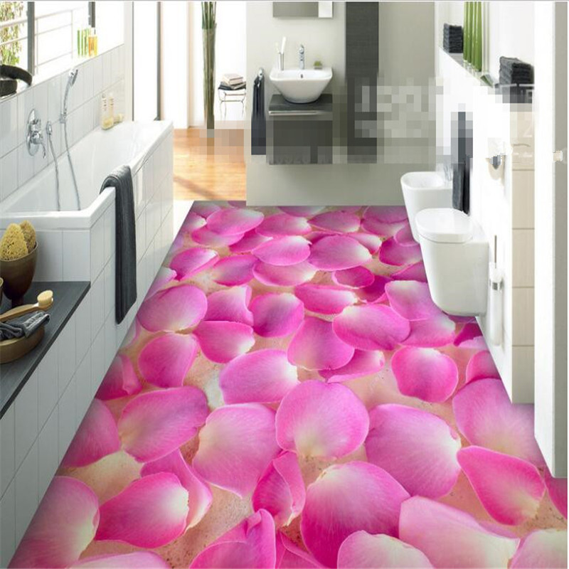 Beibehang Papel De Parede Wallpaper Pvc Custom Bathroom Living Room Bedroom  3d Flooring Beautiful Petal Floor Part 61