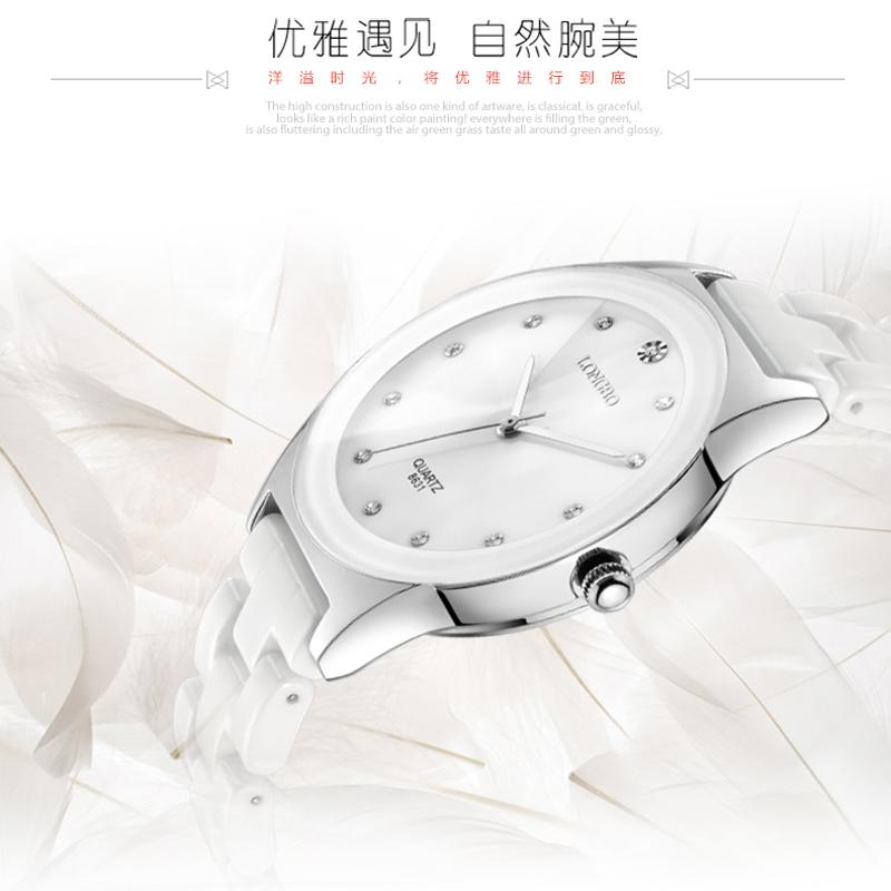 Prix pour Luxe Blanc En Céramique Résistant À L'eau Classique Facile Lire Sport Femmes Montre-Bracelet, Livraison Gratuite Top Qualité Lady Strass montre