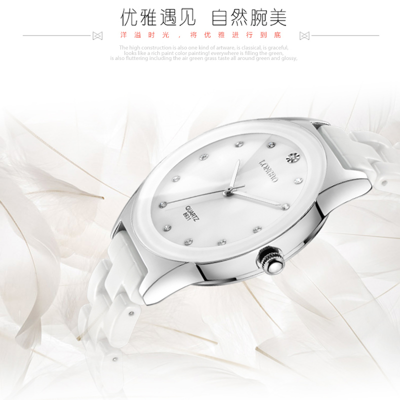 Luxury White Ceramic Water Resistant Classic Easy Read Sports Women Wrist Watch,Free Shi ...