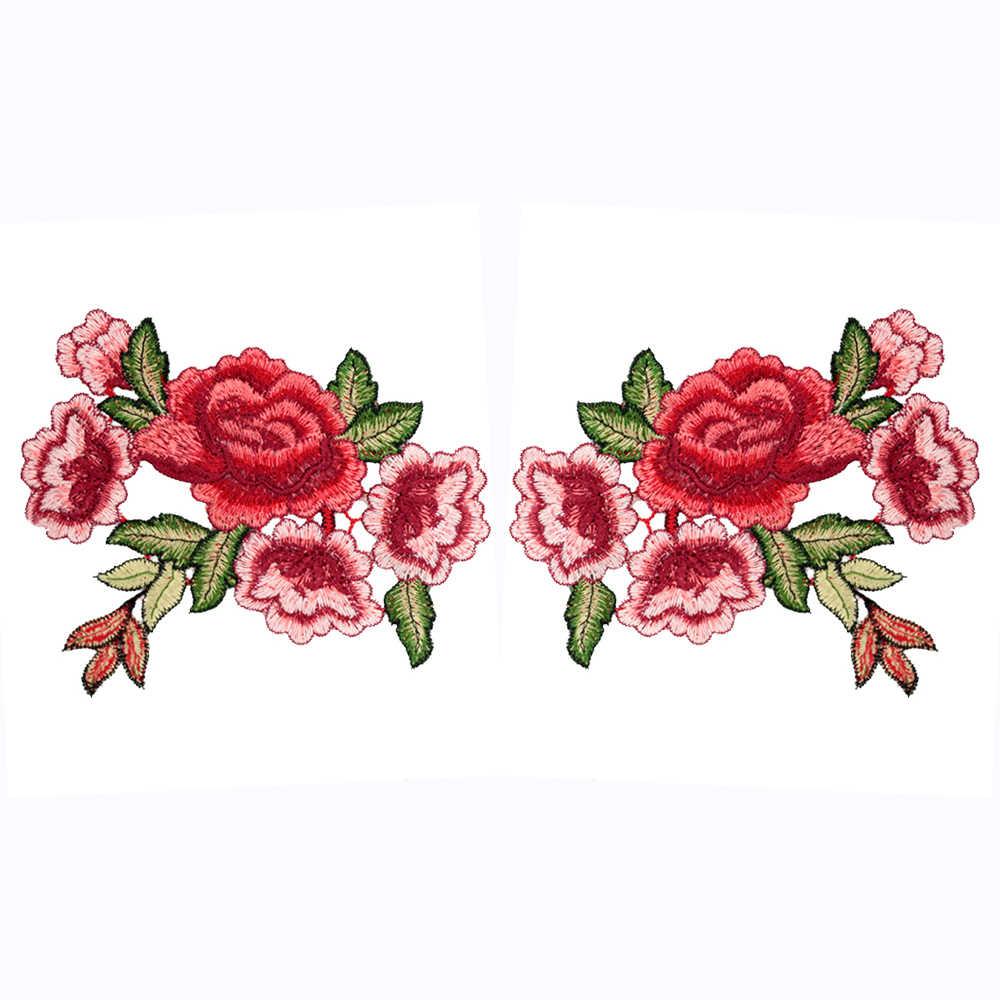 2 шт./компл. с розой, цветком, с цветочным мотивом воротник поделка Милая Аппликация значок вышитые вышивка для одежды одежда джинсовый жакет нашивки на одежду
