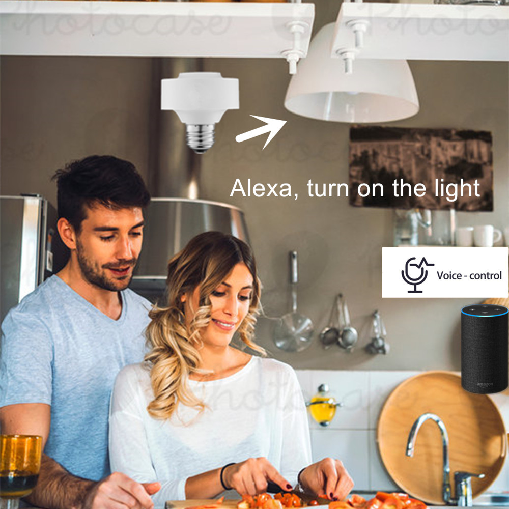 Image 2 - Tuya Smart Life WiFi Light Socket Lamp Holder for E26 E27 Led Bulb Google Home Amazon Echo Alexa Voice Control App Timer Light-in Electrical Sockets from Home Improvement