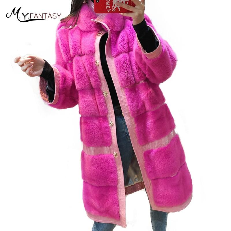 M.Y.FANSTY Natural Real Fur Coat 2018 Pure Color Mink Fur Coat Women's Mandarin Collar X-Long Nine Quarter Causal Mink Fur Coats