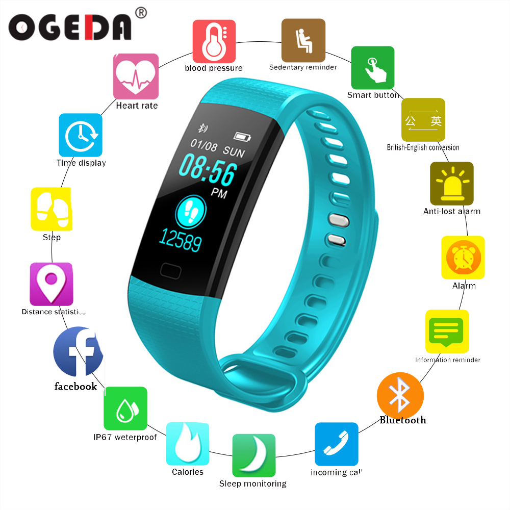 OGEDA Sport Bracelet Watch Women Men LED Waterproof Smart Wrist Band Heart rate Blood Pressure Pedometer Clock For Android iOS y5 goral