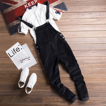 2019 Autumn and Winter New  Couples Feet Casual Pants Fashion Corduroy One-piece Bib   Men's Tooling Suspenders Good Quality