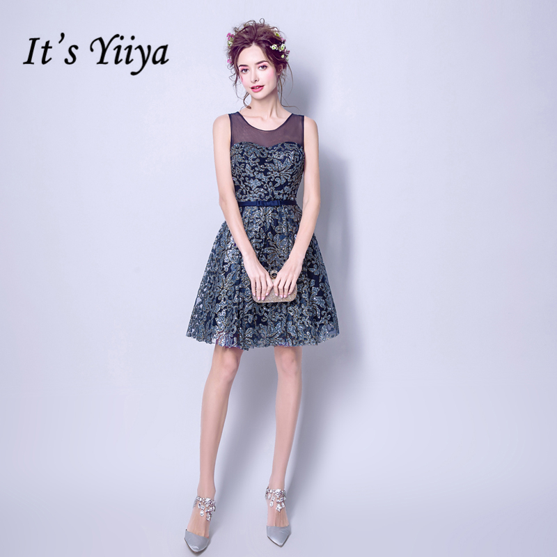 It's YiiYa Blue Lace Up Fashion Designer Luxury Elegant Quality   Cocktail   Gowns Bling Sequined Crystal   Cocktail     Dress   LX282