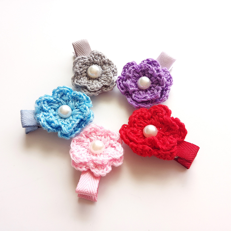 #70697 Good Quality Knitted/Woven Flower Hairpins Girls Hair Accessories 2018 New Purple Red Pink Artificial Flowers Hair Clip
