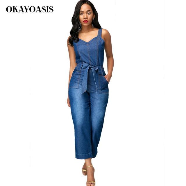 c6f478eb4b017 OKAYOASIS Jeans monos para las mujeres suelta Denim trajes 2018 verano  Combinaison con bolsillos Enteritos Mujer