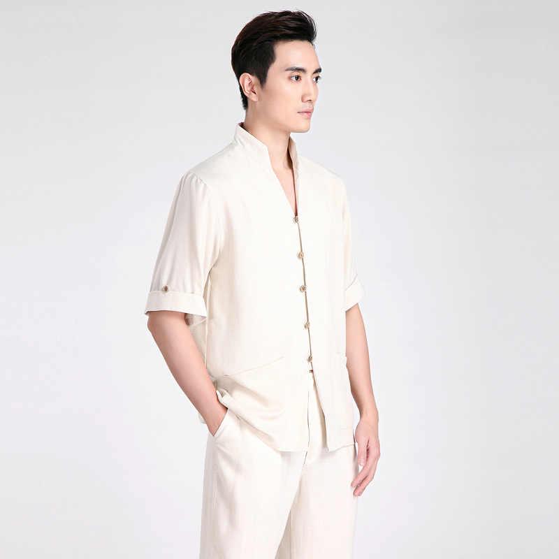 夏の新ファッションベージュの中国古典カンフーシャツ中国ボタン衣装唐のスーツのサイズ SM L XL XXL XXXL 2603