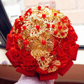 Chinese Classic Ivory Cream Brooch Bouquet Wedding Bouquet de mariage Polyester Wedding Bouquets Pearl Flowers A041