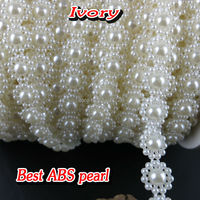 White Beige 9mm 25m Roll Half Round Flat Back Imitation Rhinestone Beads Trims For Sewing DIY