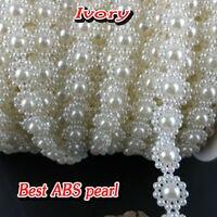 White Beige 9mm 25m Roll Half Round Flat Back Imitation Rhinestone Beads Trims For Sewing DIY