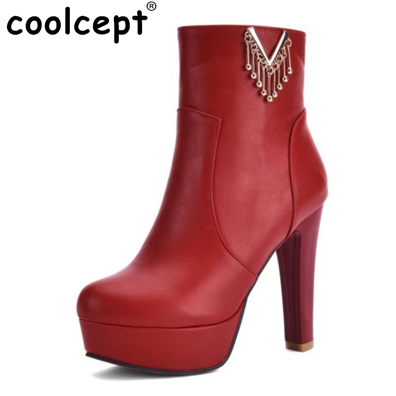 New Brand Fashion Women Zipper Ankle Boots Round Toe High Heel Shoes Sexy Ladies Platform Shoes Autumn Spring Boot Size 31-43