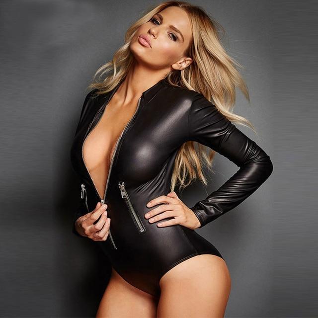 Sexy Plus Size Black Vinyl Leather Lingerie Bodysuit Women Erotic Long Sleeve Zipper Leotard Costumes Catsuit