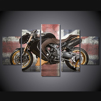 5 Pcs/Set Framed HD Printed Retro Motorcycle Poster Pictures Room Decoration Canvas Wall Art Modern Cars Oil Painting