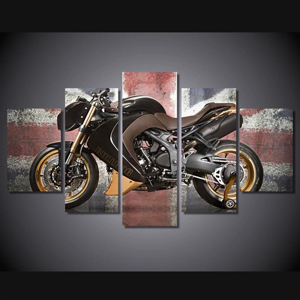 5 pièces/ensemble encadrée HD imprimé rétro moto affiche photos chambre décoration toile mur Art moderne voitures peinture à l'huile