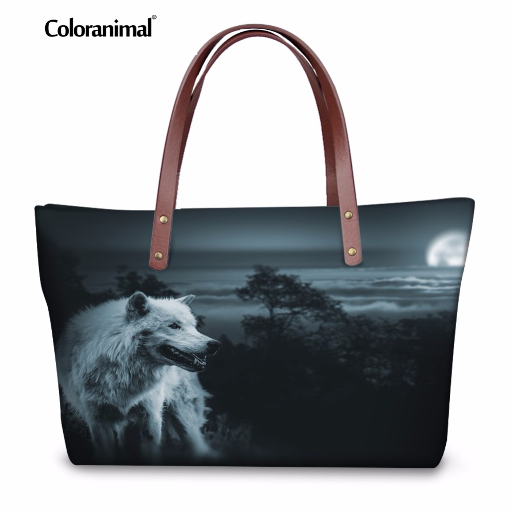 Coloranimal howling wolf/Galaxy Star Wolf Clutches Casual Bags for Ladies 3D Animal Print Large Capacity Women Handbags Tote Bag