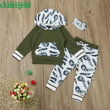 2017 Toddler Infant Baby Girl Boy Full Feather Print sweater Clothes Set Hooded Tops+Pants Headband Outfits P30 baby clothes