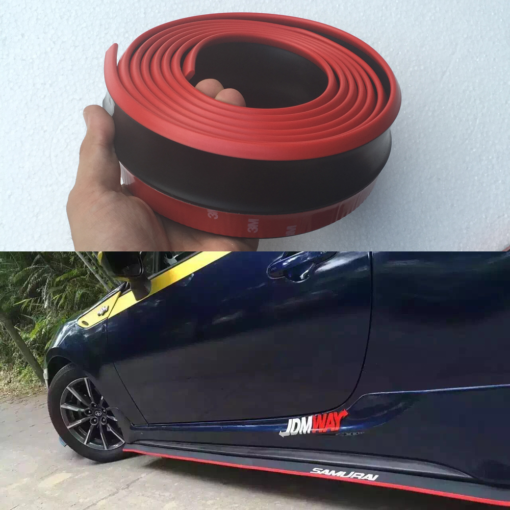 2.5 Meters M3 M4 Z4 E90 E92 F30 F16 Red with Black Rubber Car styling Front Bumper lip spoiler Side Skirt for BMW Any Car