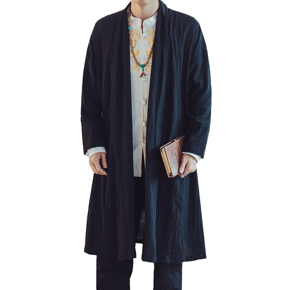 2018 Chinesischen Stil Windjacke Lose Mantel Frühling Herbst Persönlichkeit Mode Lässig Einfache Trend Feste Farbe Lange Strickjacke Jacke Ein Unverzichtbares SouveräNes Heilmittel FüR Zuhause