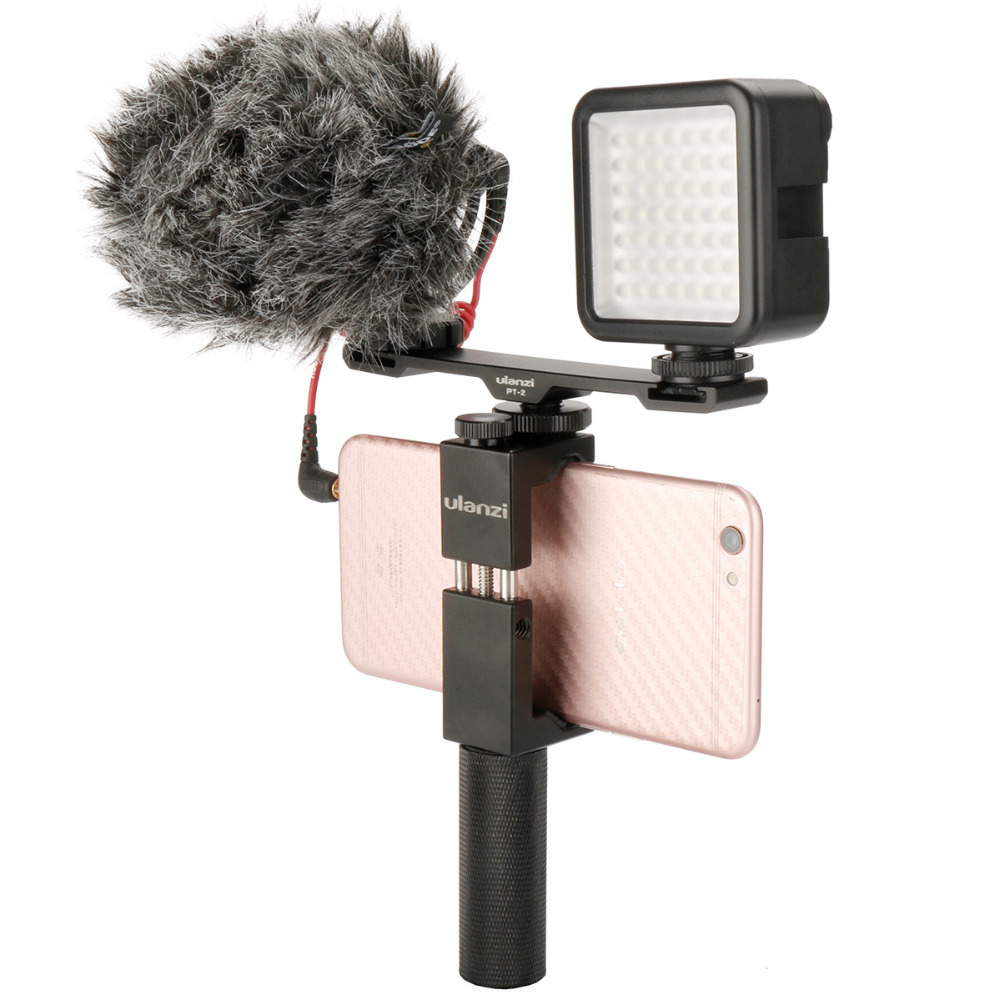 все цены на Ulanzi PT-2 Kit Smartphone Video Gear w Microphone Video Light Phone Mount Handle Rig Cold Shoe Bracket for iPhone Samsung Canon онлайн