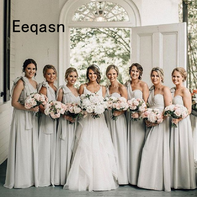 4881ad8823 US $69.12 36% OFF|Elegant Bridesmaid Dresses Chiffon One Shoulder A Line  Floor Length Backless Chiffon Long Bride Maid of Honor Gowns-in Bridesmaid  ...