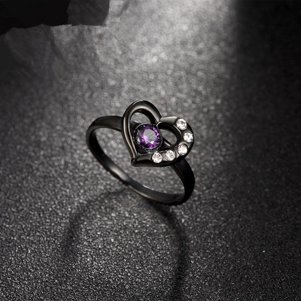 High quality purple heart shaped symbol of noble black cz ring high quality purple heart shaped symbol of noble black cz ring zircon ring women in rings from jewelry accessories on aliexpress alibaba group buycottarizona