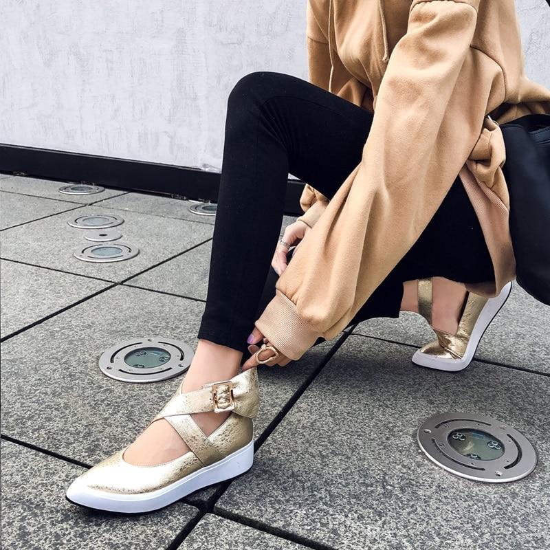 Zvq 여성 발목 버클 플랫 여성 지적 발가락 정품 가죽 얕은 봄 신발 여성 새로운 스타일 웨지 캐주얼 신발 2019-에서여성용 플랫부터 신발 의  그룹 2