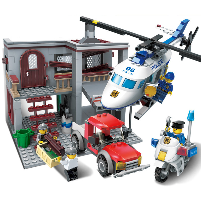 GUDI Helicopter Chase City Police Series Action Model Building Block Set Bricks 465Pcs 2017 DIY Toys Gifts For Children Birthday jie star police pickup truck 3 kinds deformations city police building block toys for children boys diy police block toy 20026