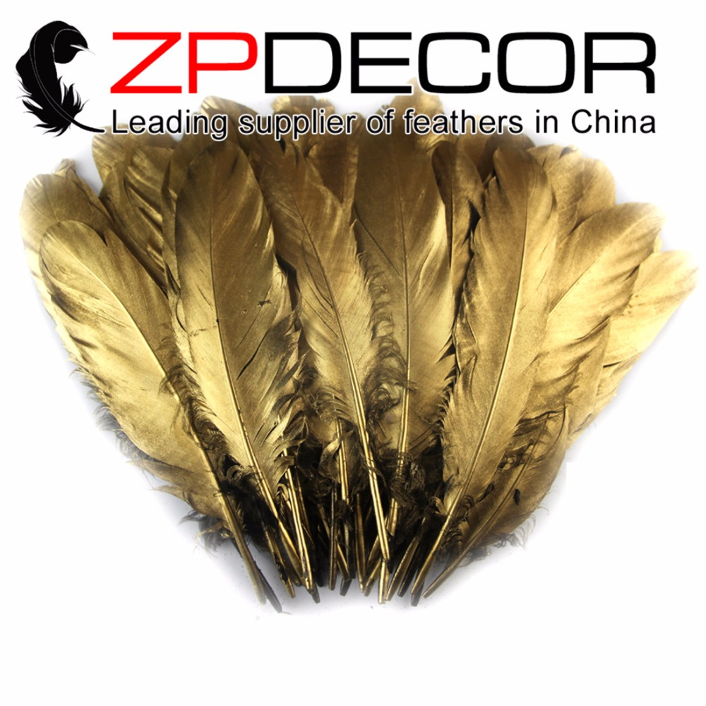 ZPDECOR Feather 1000pcs/lot Hand Select Premuim Quality Gold Metallic Goose Satinettes Loose Feathers Wholesale for Costume
