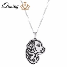 QIMING 3D Fashion Jewelry Women Pendant Necklace Handmade Golden Retriever Jewelry Great for all the Dog For Girl Gift