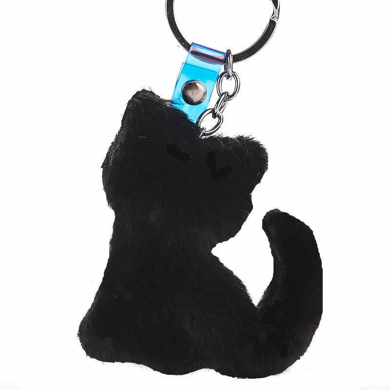 Os Animais bonitos Do Gato Chaveiros Pompom Chaveiro Chave Anel Chave Do Carro Saco Titular Pingente de Cadeia para As Mulheres Acessórios de Presente Da Jóia
