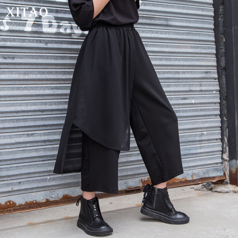 [XITAO] Europe 2018 New Summer Casual Women Mesh Patchwork Ankle-Length   Pants   Solid Color Elastic Waist   Wide     Leg     Pants   KZH2504