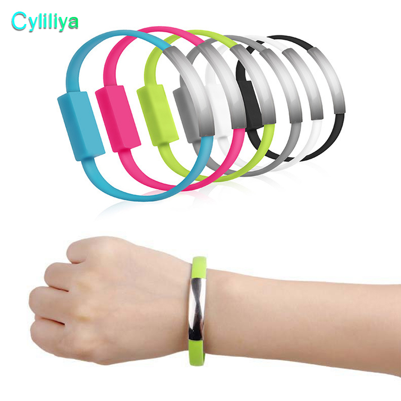 100pcs lot Bracelet Mobile Phone Cables Micro USB Data Cable Charging For Samsung Galaxy S7 S6