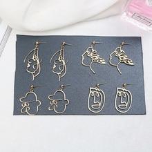 SUKI moda para chicas pendientes con Forma de cara Metal Vintage hueco abstracto pendientes colgantes para mujer Pendientes de caras joyería de regalo