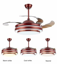 цена Ceiling fans lamp 42 inch 108cm LED living room ceiling light 85-265V brown Dimming remote control free shopping ceiling fan онлайн в 2017 году