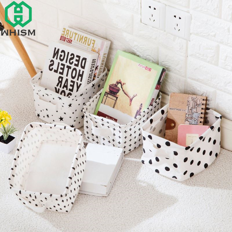 WHISM Cotton Linen Desktop Storage Basket Mini Toys Sundries Clothing Organizer Portable Makeup Organizer Home Storage Container