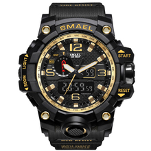 SMAEL Gold Bial Watches Top Brand Luxury Dual Display Mens Military Quartz Wristwatch Men Resistant Sports Digital Clock Relogio