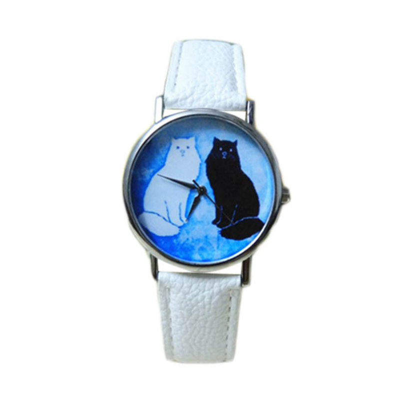Excellent Quality Women Watches New Arrival Cat Pattern Leather Strap Watches Women Dress Quartz Watches relogio feminino