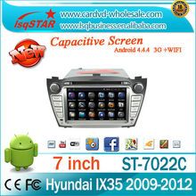 For Multi-Touch Screen Android 4.4.4 4-core Car stereo Radio DVD with Steering Wheel Control IPOD 3G wifi GPS for Hyundai ix35