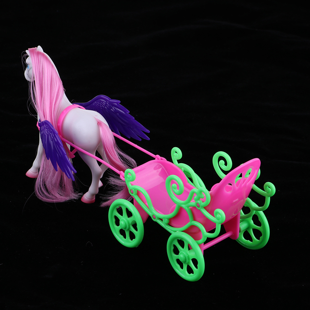 1/6 Princess Doll Playset Horse with Wing Carriage Kids Play House Toy Accessories 2