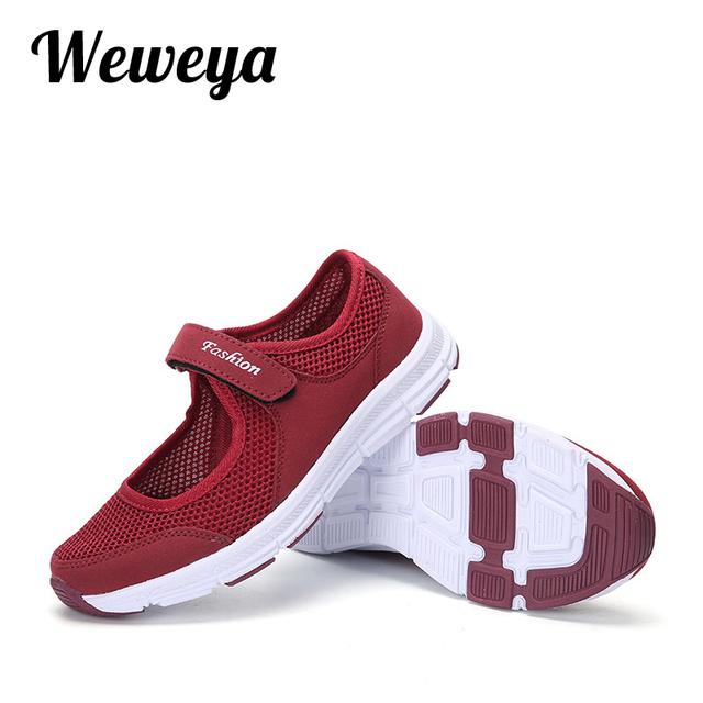 Weweya Mother Gift Gray Flat Sneakers Women Flats Hollow Mesh Shoes Women Breathable Soft Bottom Walking Footwear Big Size 41 42