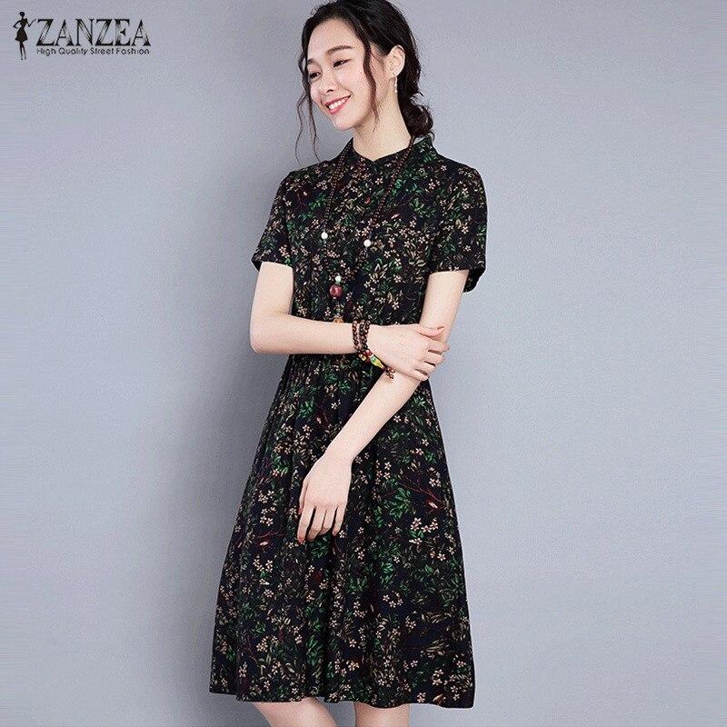 ZANZEA Women Vintage Floral Print Knee Length Dress 2018