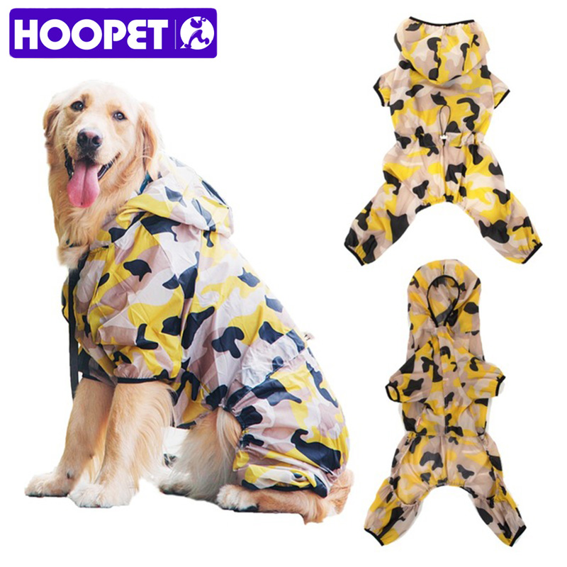 HOOPET Pet Large Dog UV Sun Protection Quick Dry Slim-Fit Thin Transparent Jacket Puppy Hoodie