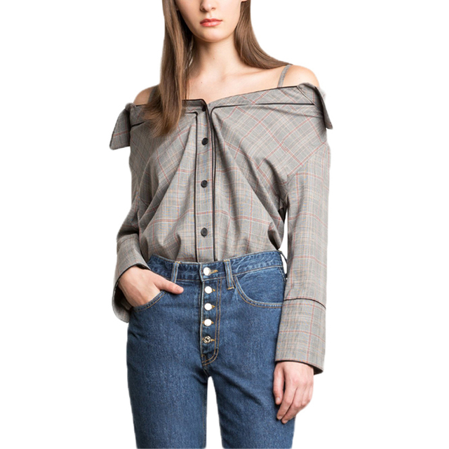 4ba8789b8ad54 Grey long sleeve strappy off the shoulder plaid shirts for women ladies  vintage sexy spaghetti strap button up bardot tops
