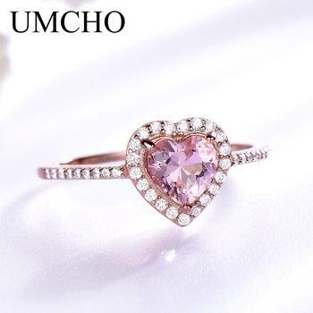 UMCHO Roze Morganite Ringen voor Vrouwen 925 Sterling Zilveren Ring Hart Engagement Wedding Band Valentijnsdag geschenk Fijne Sieraden