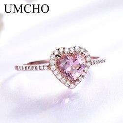 Umcho rosa morganite anéis para mulher 925 anel de prata esterlina coração noivado casamento banda presente do dia dos namorados jóias finas
