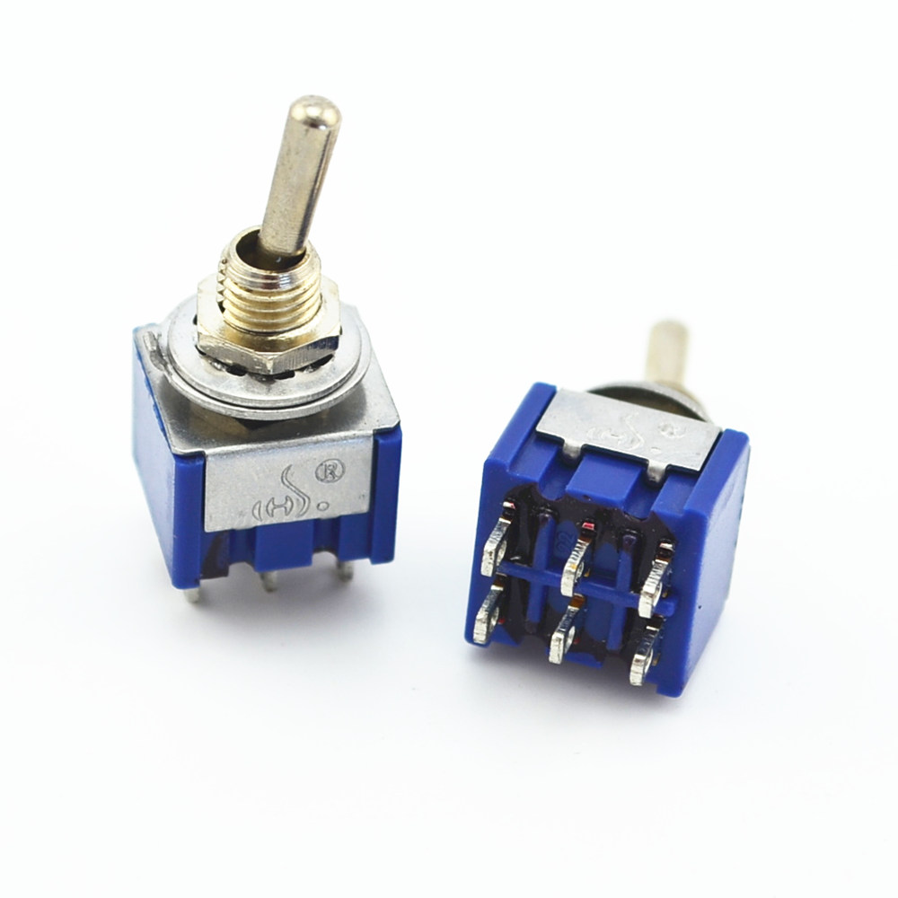 100Pcs 6 Pin 2 Position ON-ON DPDT Mini Latching Toggle Switch AC 125V/6A 250V/3A 5pcs lot high quality 2 pin snap in on off position snap boat button switch 12v 110v 250v t1405 p0 5